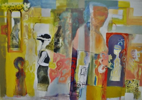 In-between realities I, 2011,160/130cm acrylic and oil on canvas